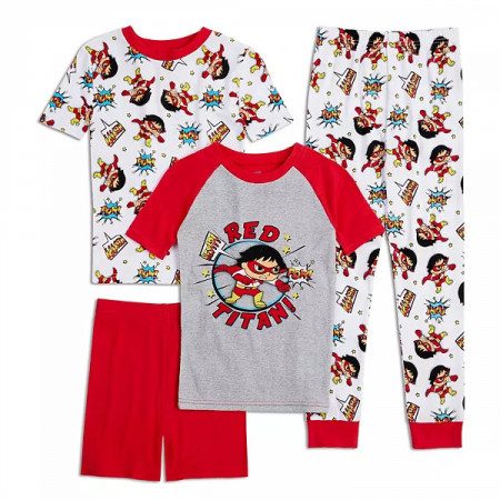 Ryan's World Red Titan Youth 4-Piece Long Sleeve Pajama Set