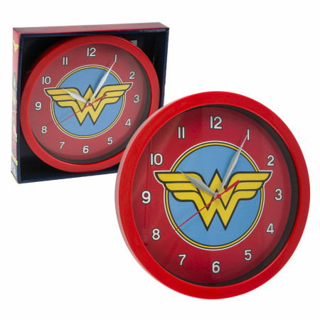 "DC Comics Wonder Woman Symbol Print 9 3/4"" Wall Clock"