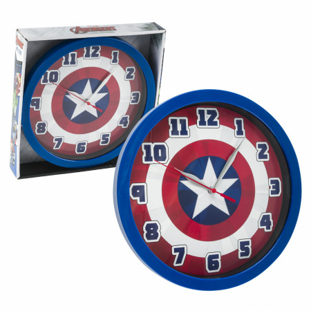 "Captain America Shield Symbol 9 3/4"" Wall Clock"