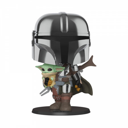 "Star Wars The Mandalorian with The Child 10"" Chrome Funko Pop!"