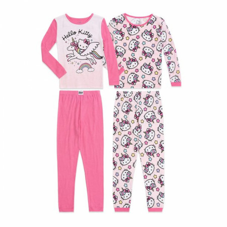 Hello Kitty Unicorn Rainbow 4-Piece Long Sleeve Pajama Set