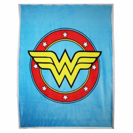 DC Comics Wonder Woman Logo Thick Micro Sherpa Throw Blanket