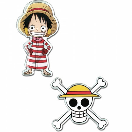 One Piece Luffy and Luffy Skull Pin Set