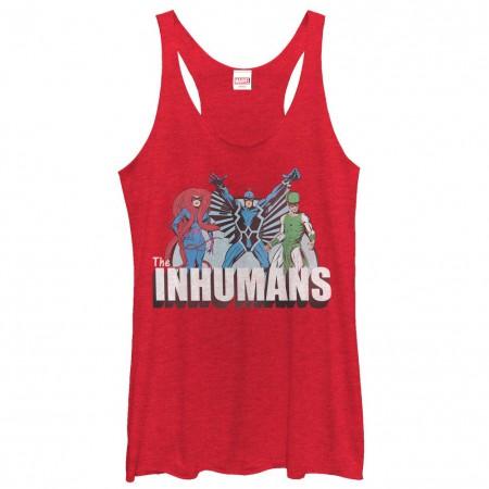 Marvel Teams Inhuman Groupshot Red Juniors Racerback Tank Top