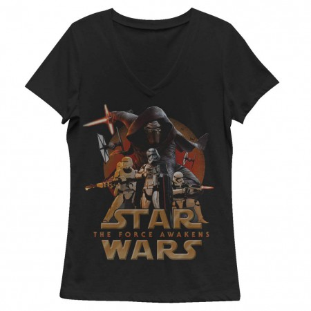 Star Wars Episode 7 New Poster Black Juniors V Neck T-Shirt