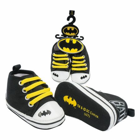 Batman Symbol and Text Baby Shoes