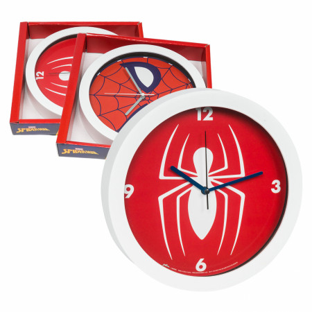 "Marvel Comics Spider-Man Face Symbol Character 9 3/4"" Wall Clock"