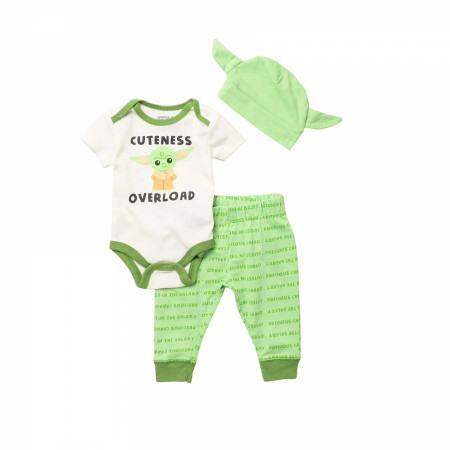 Star Wars The Mandalorian Child 3-Piece Bodysuit Set With Cap