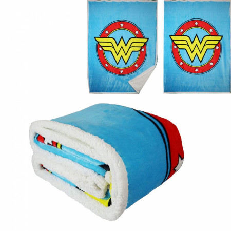 DC Comics Wonder Woman Logo Thick Micro Sherpa Throw Blanket