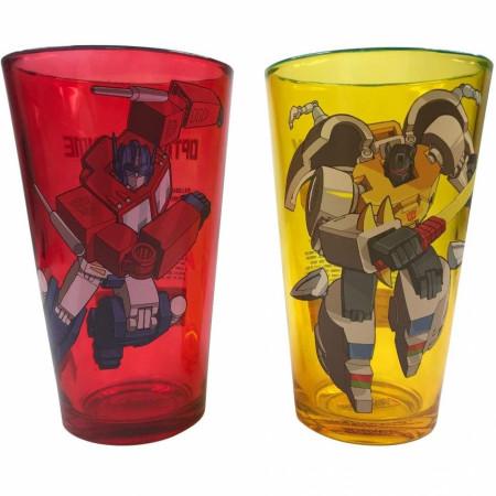 Transformers Classic Optimus Prime & Grimlock 2-Piece Pint Glass Set