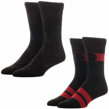 Deadpool Mercenary Suit and Anti-Hero Insignia 2-Pack Crew Socks