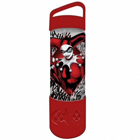 Harley Quinn 20oz Silicone Sleeve Glass Water Bottle