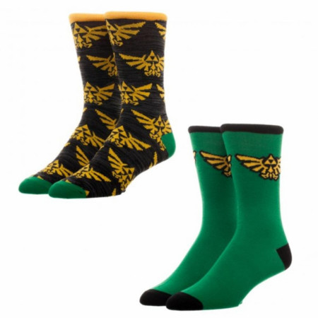 Nintendo Zelda Triforce Crest 2-Pack Crew Socks