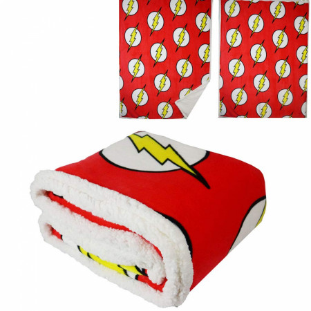 DC Comics Flash Symbol All Over Thick Micro Sherpa Throw Blanket
