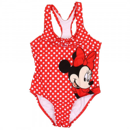 Disney Minnie Mouse Red Polka Dot One Piece Girls Youth Swimsuit