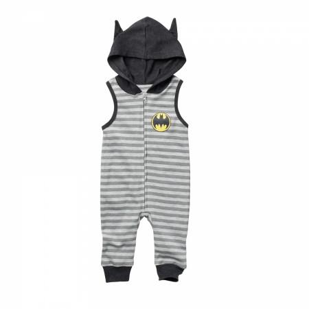 Batman Striped Sleeveless Romper With Hood