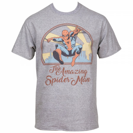 The Amazing Spider-Man Swinging Through The City Men's T-Shirt