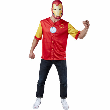 Iron Man Men's Baseball Jersey Top and Mask