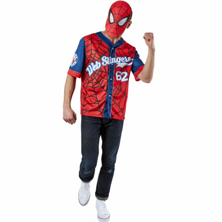 Spider-Man Men's Baseball Jersey Top and Mask