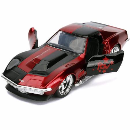 """Harley Quinn Chevy Corvette Stingray Diecast Metal 5"""" Movie Car by Jada Toys"""