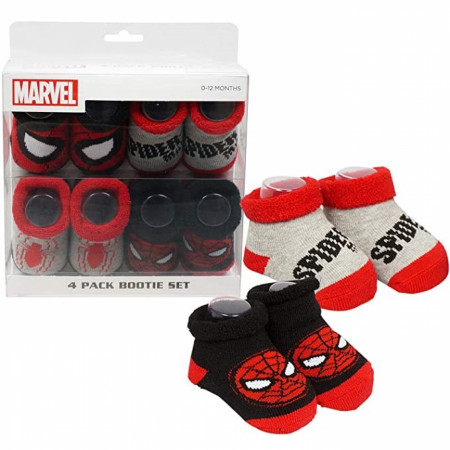 Spider-Man Patterned Baby Bootie 4-Pack Set