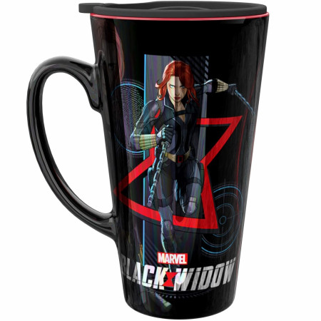 Black Widow Movie 15 Ounce Ceramic Mug With Lid