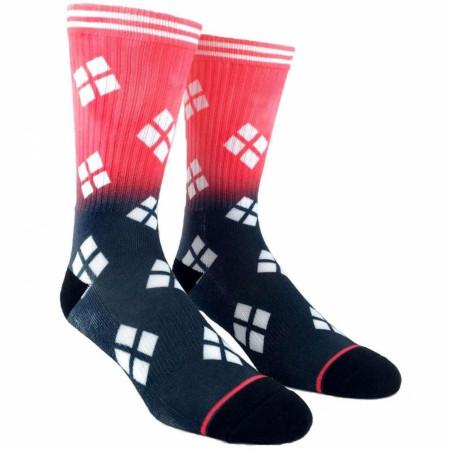 Harley Quinn Red & Black Ombre Crew Socks
