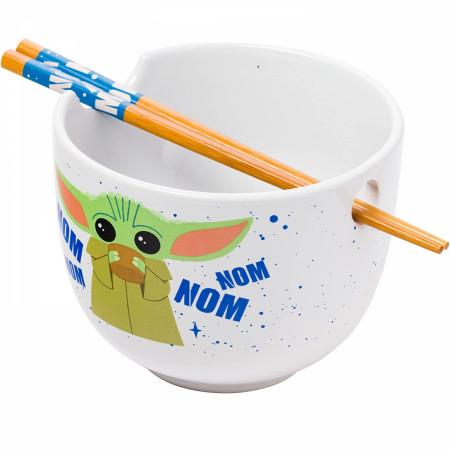 Star Wars The Mandalorian The Child Nom Nom Ramen Bowl with Chopsticks