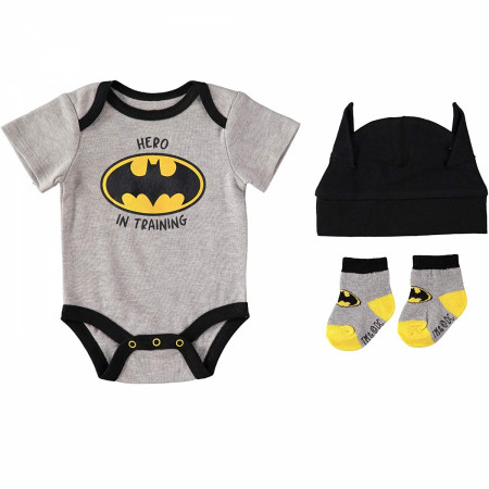 "Batman ""Hero In Training"" 3-Piece Bodysuit Set"