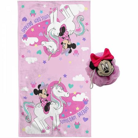 Minnie Mouse Unicorn 2pc Bath Towel and 3D Loofah Set