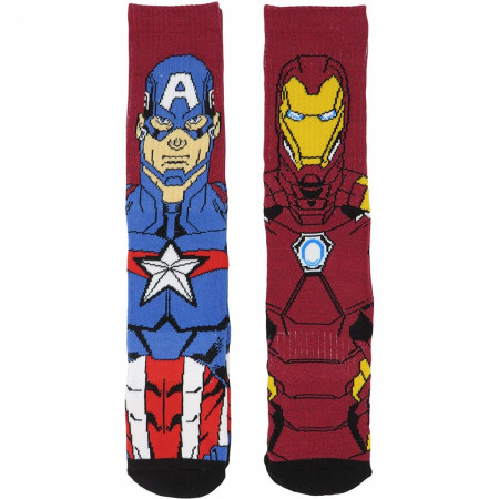 Captain America and Iron Man Character Image 2-Pair Pack of Athletic Socks