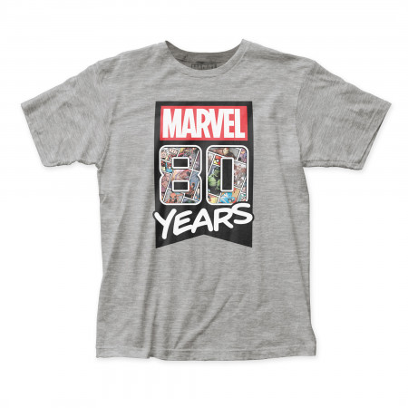 80 Years of Marvel Men's Grey T-Shirt