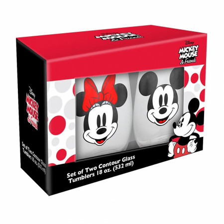 Mickey and Minnie 2-Pack 18 Ounce Glasses