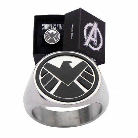 S.H.I.E.L.D Stainless Steel Black Logo Ring