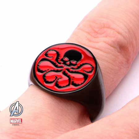 Red Hydra Logo Black Stainless Steel Ring