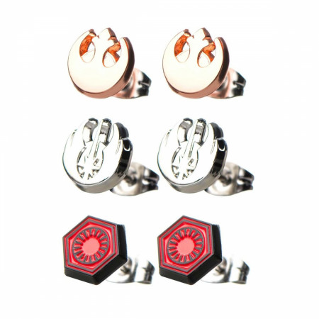 Star Wars Rebel, Jedi, and First Order Steel Stud Earrings Set