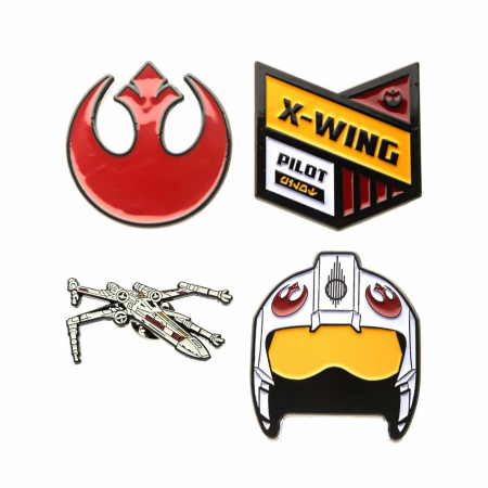 Star Wars Rebel Alliance Symbol and X- Wing Fighter Metal Pin Set