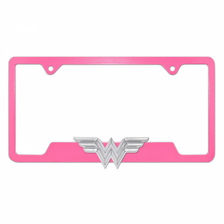 Wonder Woman 3D Pink Open License Plate Frame