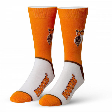 Hooters White And Orange Logo Socks
