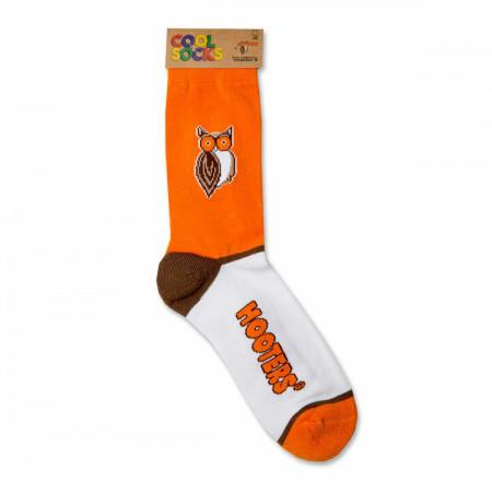 Hooters White And Orange Logo Socks