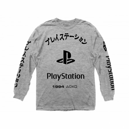 PlayStation Kanji Grey Long Sleeve Shirt