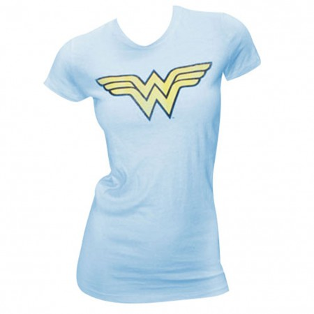 Wonder Woman WW Logo Juniors Light Blue Graphic T Shirt