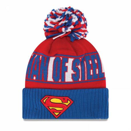 Superman Man of Steel Red White & Blue Pom Pom Beanie
