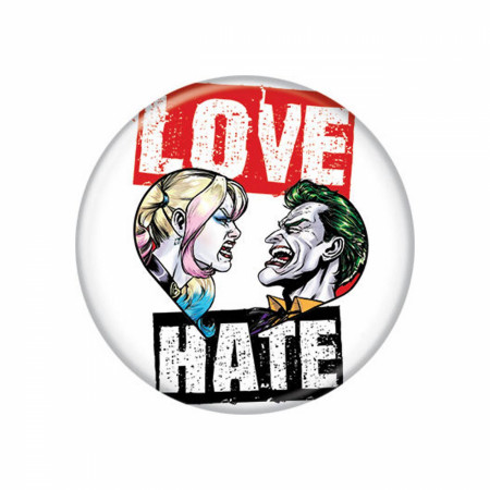 Harley Quinn and Joker Love and Hate 1.25 inch Button