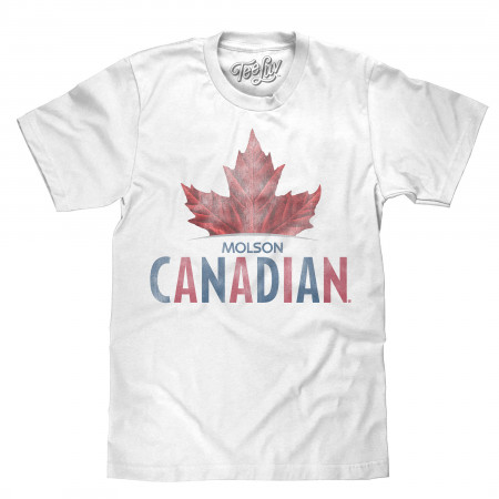Molson Canadian Men's White Leaf Logo T-Shirt
