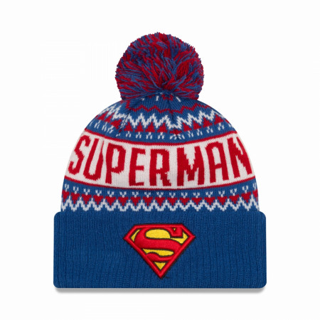 Superman Symbol Wintry Pom Pom Beanie