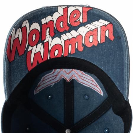 Wonder Woman Vintage Logo Pigment Dye Distressed Dad Hat