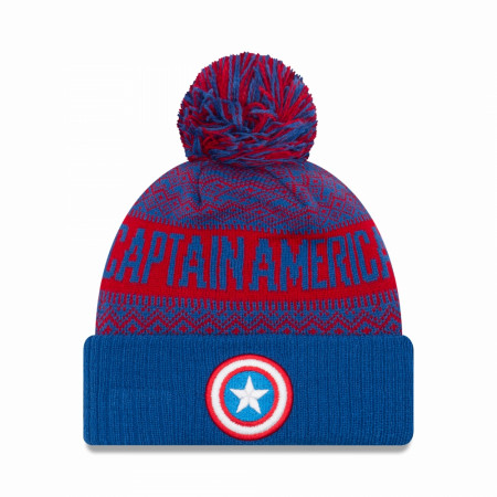 Captain America Shield Wintry Pom Pom Beanie