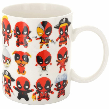 Marvel Deadpool Chibi Characters All Over 11oz Ceramic Mug