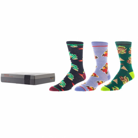 Nintendo Super Mario & Zelda 3-Pair Pack of Crew Socks Box Set